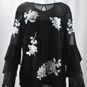 !Deep Black Meshy Top w/ White Floral Embroidery!